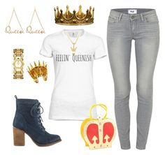 """Feelin Queenish"" by yvonnewarren ❤ liked on Polyvore featuring Paige Denim, Tory Burch, Betsey Johnson, Comeco and Steve Madden"
