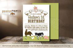 Farm Animals Birthday Party Invitation by PeanutPRINTS4u