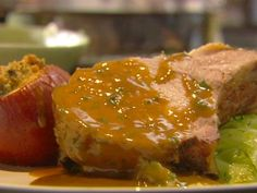 Roast Loin of Pork with Baked Apples and Cider Gravy
