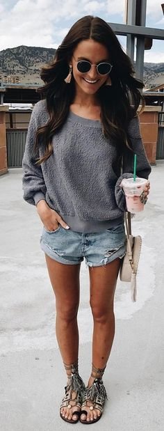 #spring #outfits Grey Knit + Ripped Denim Short + Sandals 💗