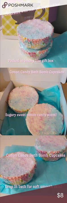 Cotton candy bath bomb cupcakes Set of 2 cotton candy bath bomb cupcakes. Drop in bath for soft smooth skin. Sugary sweet cotton candy scent. Decorated like a cupcake from the bakery! Made with a special combination of skin nourishing oils to restore moisture and softness to dry skin. Vibrant pink and blue multicolored with pink candy sprinkles on top. Price is for two in bakery like box as shown.  .#bathtime#bathbombs#lush#skincare#makeup#handmade#sugarscrub#dryskin Makeup