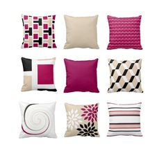 Throw Pillow Magenta Sand Black White Couch Cushion Contemporary Home Decor Living Room Pillow Geometric Magenta Decor Throw Pillow Covers