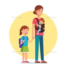 Download Free Graphicriver 	             Mother with Daughter in School and Infant Baby Son            #baby #background #carrier #carry #child #cute #daughter #dummy #family #flat #girl #hand #happiness #happy #hard #hardship #holder #holding #hug #human #icon #illustration #infant #isolated #life #little #mama #maternal #mom #mother