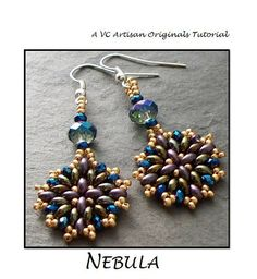 Beading Tutorial, Twin Bead Earrings pattern,  SuperDuos, Step by Step with Detailed Diagrams, Nebula