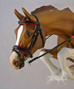 Model Horse Black Red English Bridle Close Contact All Purpose