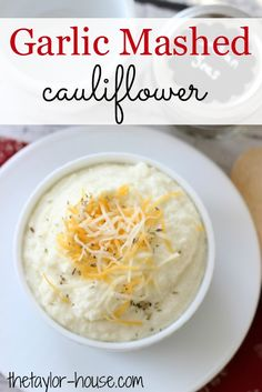 Delicious Creamy Garlic Mashed Cauliflower is a great alternative to mashed potatoes!