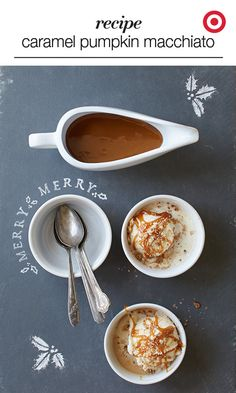 Combine after-dinner coffee with dessert. This recipe uses spices, sweet caramel and creamy ice cream to make an enticing treat that perfectly tops off your Christmas dinner. Holiday Foods, Holiday Fun, Holiday Recipes, Delicious Desserts, Yummy Food, Tasty, Stoneware Bakeware, Drink Recipes, Cooking Recipes