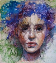 Garland of Light and Shadow by Tonja  Sell - Watercolor, soft chalk pastels and pastel pencils on sanded paper