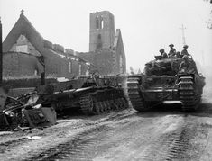 Surprising Tank & Weapon Wrecks in Normandy. A Churchill tank carrying infantry of the Royal Scots Fusiliers passed a destroyed German Mk IV tank in Le Tourneur, 3 August Normandy Ww2, Battle Of Normandy, D Day Normandy, Normandy Invasion, Panzer Iv, Churchill, Ww2 Tanks, Armed Forces, Historical Photos