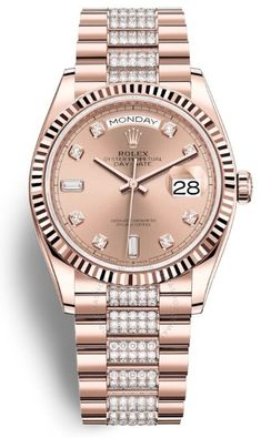 Day-Date 36 Rose Dial Automatic Diamond-Set President Watch 128235PDDP Luxury Watches, Rolex Watches, Watches For Men, Rolex Day Date, 3 O Clock, Gold Hands, Automatic Watch, Gold Watch, Dating