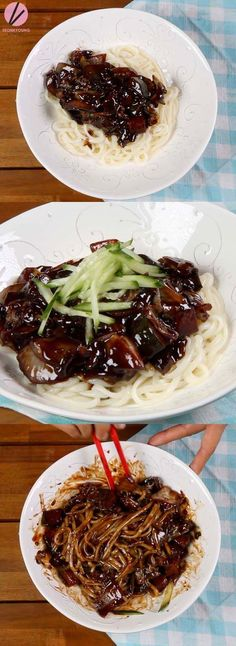 Jjajangmyeon is Korean-Chinese black noodles. It's savory, sweet from kids to adults, everybody loves it! Jjajangmyeon's biggest flavor is coming from