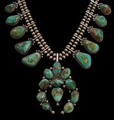"""Blue Ridge Turquoise Squash Blossom Necklace""  by Alice & David Lister"
