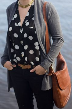 neutrals + polka dots Love. .. but I would do a dif necklace even though I know its the style. It just seems to chunky, strangling her neck. And I could wear blk ballet flats with this even though the bag and belt is a different leather. What do you think?
