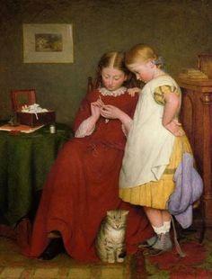 """""""La Lección de Crochet""""         -         """"The Crochet Lesson""""  1859.  Edward Thompson Davis (1833-1867) Pintor británico"""