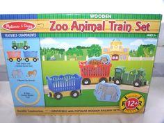 New Melissa & Doug Wooden Zoo Animal Train Set Track #MelissaDoug