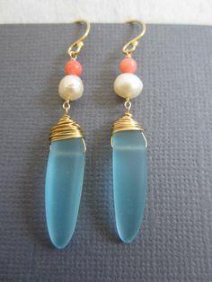Sea Glass Earrings  Sea Foam Aqua Long earrings Beach by Muse411, $26.00