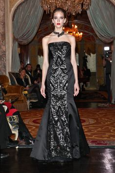 A model walks at the Kim Hicks Couture Fall 2012 presentation during Mercedes-Benz Fashion Week at Woolworth Mansion on February 8, 2012 in New York City.