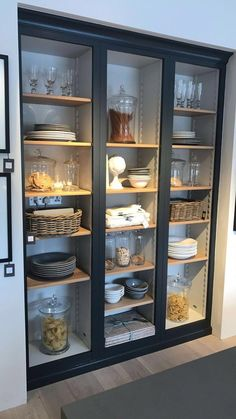 modern farmhouse kitchen with glass pantry doors, custom built-in with glass doors and black cabinets in kitchen, open shelf decor ideas in neutral kitchen design Kitchen Pantry Design, Kitchen Cupboards, Modern Kitchen Design, Home Decor Kitchen, Interior Design Kitchen, Kitchen Furniture, Kitchen Storage, Dark Cabinets, Kitchen Ideas