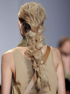 leather laced braids at Michael Kors 2012 hair by Orlando Pita http://www.marieclaire.com/cm/marieclaire/images/cg/mcx-beauty-ss2012-michael-kors-hair-mdn.jpg