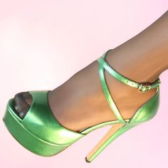 ZriEy Cross-Strap Peep-Toe Stilettos Grass Green Patent PU