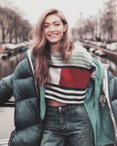 Gigi Hadid for Tommy Hilfiger Style and Fashion Outfit Ideas Gigi Hadid Outfits, Gigi Hadid Style, Fashion Week, Fashion Models, Womens Fashion, Fashion Trends, Ootd Fashion, Milan Fashion, High Fashion