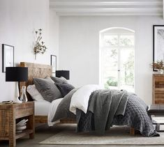 25 Cozy Bedroom Decor Ideas that Add Style & Flair to Your Home - The Trending House Bedding Master Bedroom, Bedroom Decor, Blush Bedroom, Reclaimed Wood Nightstand, Salvaged Wood, Reclaimed Wood Bedroom Furniture, Pottery Barn Bedrooms, Wood Platform Bed, Headboard Designs