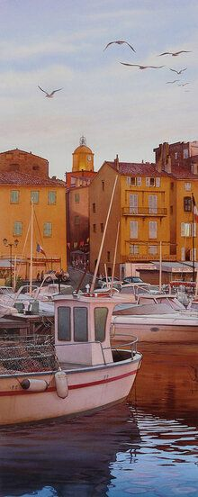 Format: 33 cm x 82 cm. Size: 13 in x in. Dusk in the port of Saint-Tropez Art by Independent Artists. Paris Country, France Country, South Of France, Saint Tropez, Grand Canal, Andorra, St Tropez France, Belle France, Visit France