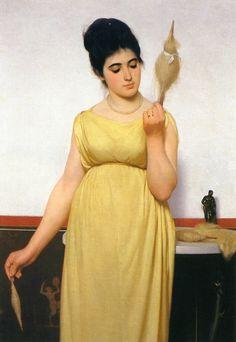 La fileuse. Huile sur toile en 1872 de Raffaello SORBI  (italien 1844 - 1931 )