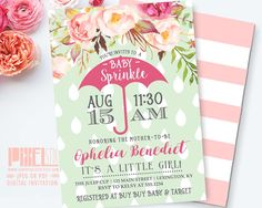 Floral Baby Sprinkle Invitation, Floral Baby Shower Invitation, Mint and Pink Flowers Invite, Raindrops Umbrella, Shabby Chic Girl Shower by shopPIXELSTIX on Etsy