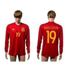 Spanien 2016 #Diego Costa 19 Hjemmebanetrøje Lange ærmer,245,14KR,shirtshopservice@gmail.com