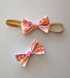 Spring Vintage Floral Bow, Gold Glitter Headband, Clip, Baby, Toddler, Girl on Etsy, $6.00