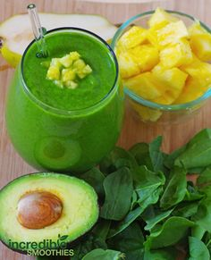 Pineapple-Avocado Green Smoothie Recipe with Pear
