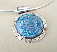 Enameled disk with crackle effect -sterling silver tab set by fitzidesigns