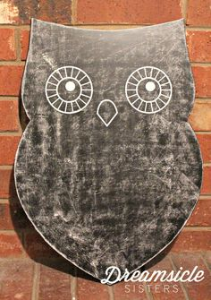 Using clear chalkboard primer to transform this owl cutout! Dreamsicle Sisters
