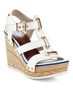 Look what I found on #zulily! White Tammy Wedge Sandal #zulilyfinds