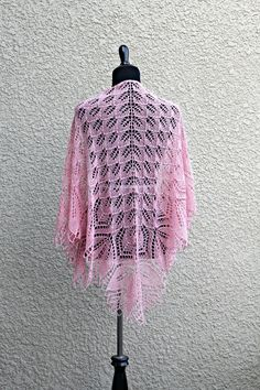 This hand knit #shawl is made with 100% wool in soft pink color. It is very laced and delicate and yet a bit warm. Simple flower ornament adds a romantic look to the shawl. ... #kgthreads #accessories #elegant #fashion #handknit #handknitted #knitting #lace #stole