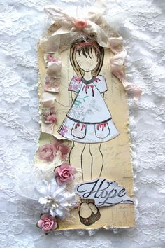 Shabby Chic Prima Doll Tag - Hope- Hello Pastel Collection  - Scrapbooking Premade Tag. $15.95, via Etsy.