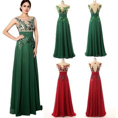 Nice 2017 Appliques Chiffon Bridesmaid Prom Ball Gown Long Women Evening Party Dress 2017 2018