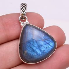 925 Solid Sterling Silver Pendant, Natural Labradorite Gemstone Jewelry P226 #Handmade #Fashion