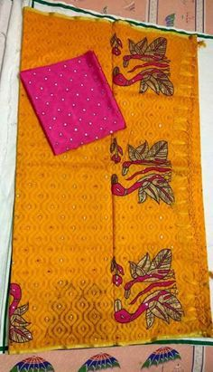Jute patola weaving ith embroidery work paired with contrast flaux mirror blouse…