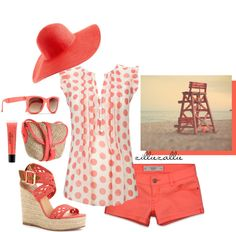Coral Spot Frill Blouse, created by zilliezallie on Polyvore