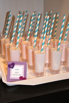Fruit smoothies at a spa birthday party