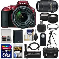Nikon D5500 Wi-Fi Digital SLR Camera & 18-140mm VR DX AF-S Lens (Red) with 55-300mm VR Lens + 64GB Card + Battery + Grip + Case + Tripod + Tele/Wide Lens Kit