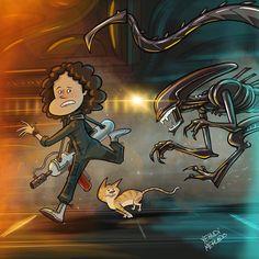 #Alien #Ripley #sigourneyweaver #xenomorph #jonesy #cat #scifi #illustration #ipadproart #procreate #supermercadocomics #ridleyscott #hrgieger #cartoon (at Supermercado Comics)