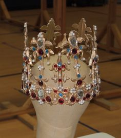"1399 Plantagenent crown. From the British Crown Jewels collection, once described in a 17th century inventory as ""old goldware"". Resin, wire, plastic jewels. Reproduction 2009"
