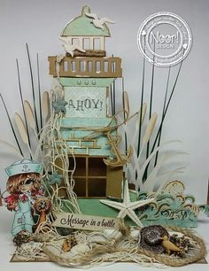 Design Under The Sea door Tiets Wolfard Fancy Fold Cards, Folded Cards, Crafts To Do, Paper Crafts, Beach Scrapbook Layouts, Rolled Paper Flowers, Sea Pictures, Mixed Media Cards, Nautical Cards