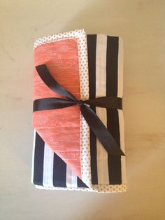 Black and White Striped Baby Quilt Coral Feathers by Nooches