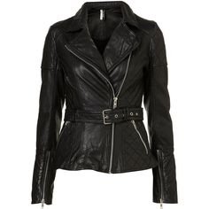 Quilted Longline Leather Biker Jacket ❤ liked on Polyvore