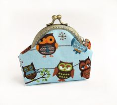 $22.00, Blue Coin Purse with Owls, Brown Birds