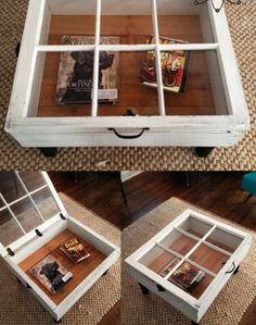 to Make a Window Table (For the Rustic Look) Old Window Coffee Table. It would be cool to put sand and shells from the beach in here!Old Window Coffee Table. It would be cool to put sand and shells from the beach in here! Reclaimed Windows, Wooden Windows, Window Table, Window Coffee Tables, Diy Coffee Table, Coffee Ideas, Coffee Table With Glass Top, Glass Table, Beach Style Coffee Tables
